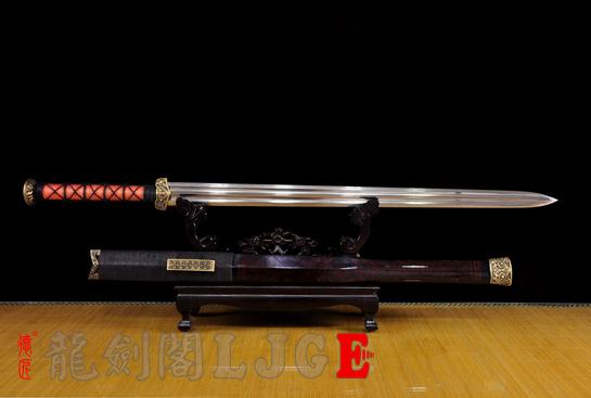 大漆鞘赤壁剑-百炼花纹钢