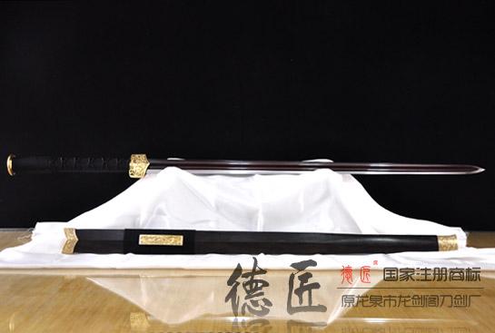 亮铜双槽汉剑-百炼花纹钢