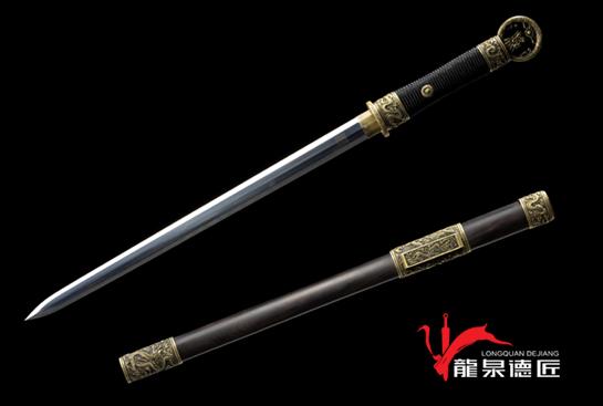 专利作品·中款龙装环首剑-百炼钢烧刃
