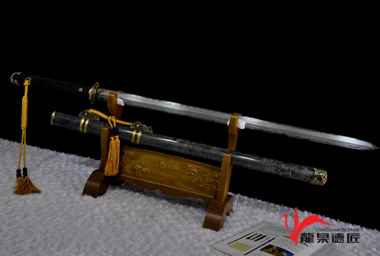 简装鱼皮唐剑-百炼花纹钢