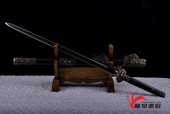 镂空装豪华唐剑-百炼花纹钢