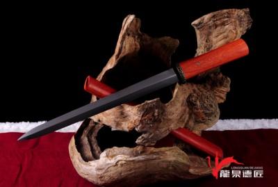 红木短剑-百炼花纹钢