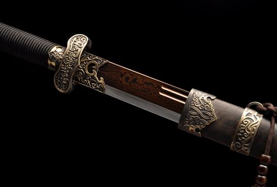 专利作品·黑金古刀加长版-百炼花纹钢