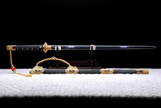 唐将唐剑-珍藏版-土钢-毛铁-黄铜镀金-(夹钢复合)