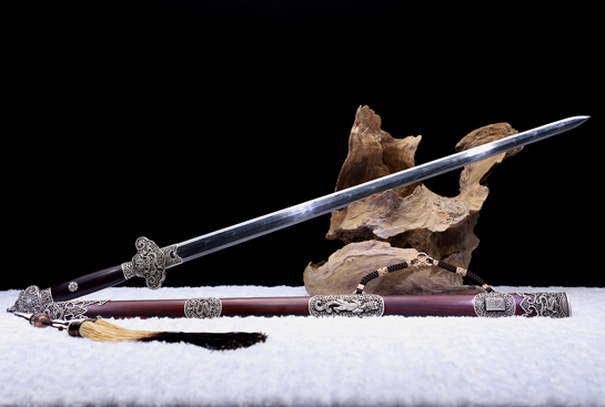 泉宗-陨之意-陨铁-毛铁-精钢-纯银手雕-紫檀木鞘(夹钢复合)