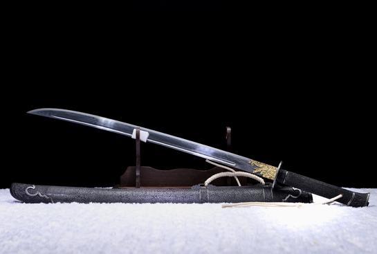 龙纹清刀-典藏版-草钢-毛铁-手工铁雕错银(夹钢复合)
