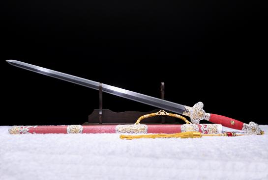 泉宗康熙佩剑-品尊版-陨铁-草钢-黄铜镂空银底溜金