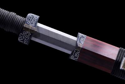 遗风汉剑-典藏版-自炼钢-铁装错铜错银-紫檀木鞘