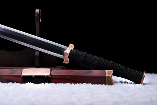 紫铜素汉剑之紫风汉剑-自炼钢-仕上研磨-紫铜嵌银丝-紫檀木鞘