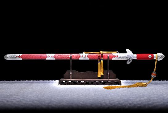 银装天音剑-典藏版-自炼钢-孔雀纹-纯银手工雕刻