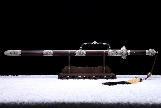 银雕龙吟剑-珍藏版-秘炼钢-纯银手工浮雕-紫檀木鞘