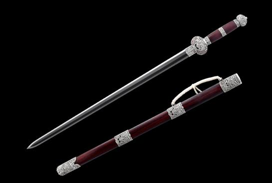 【获奖作品】孤品珍藏系列之天佑剑-玉钢-仕上研磨-纯银手工浮雕-紫檀木鞘