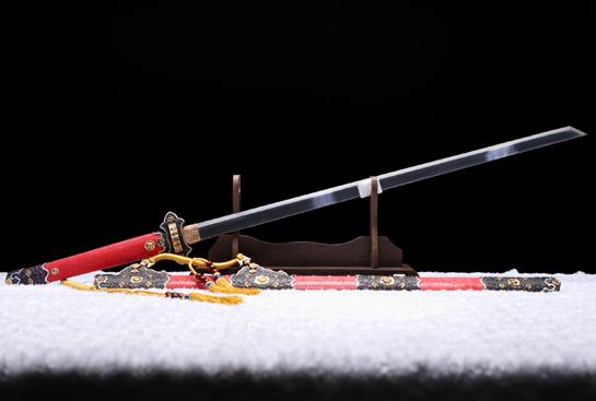 唐草装豪华唐刀-百炼钢夹钢(三枚合)