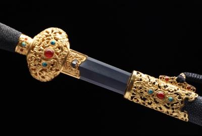 豪华收藏系列之太宗剑-尊享版-自炼钢-黄铜镀金镶嵌玛瑙及绿松石