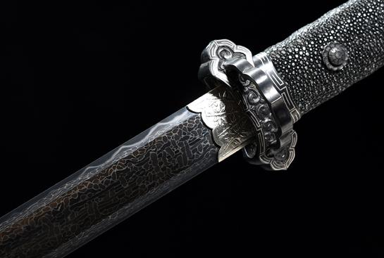 豪华收藏系列之天问唐剑-孤品-秘炼钢-冰裂纹-手工凸花铁雕-(夹钢复合)