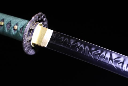 火焰纹云斩武士刀-T10钢烧刃