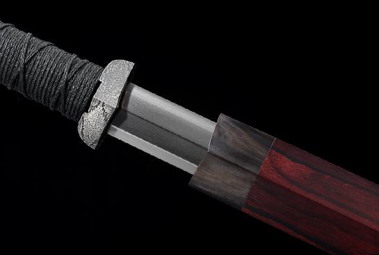 庚子新作-乌玆钢汉剑-金乌剑-极品特锻大马士革装-紫檀木鞘