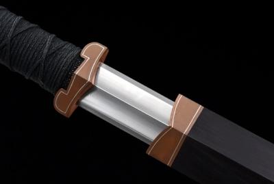 紫铜素汉剑之紫电-自炼钢-紫铜嵌银丝