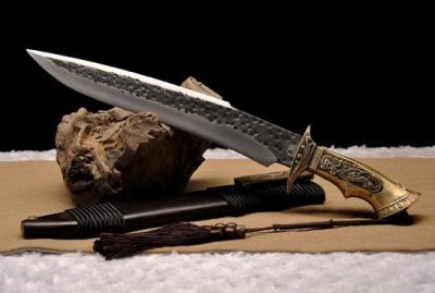 铜柄博伊刀|百炼花纹钢