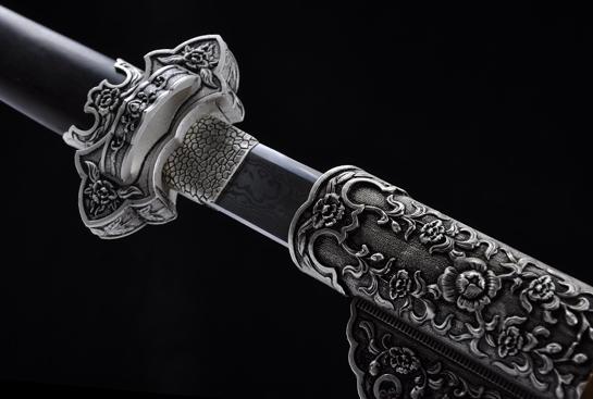 仿银豪华唐刀-百炼花纹钢