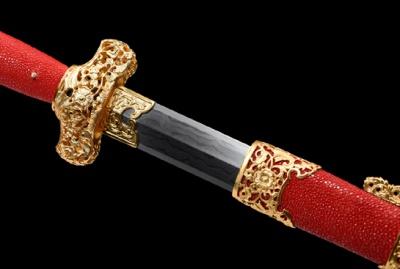 出云剑-典藏版-草钢-毛铁-自炼钢(夹钢复合)黄铜透空精雕镀金