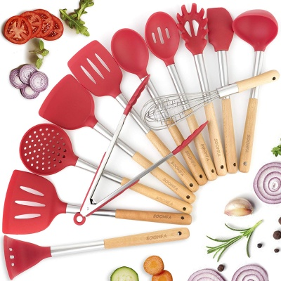 Premium Cooking Silicone Kitchen Utensil Set - Stainless Steel & Silicone Handles