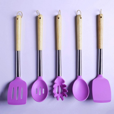 Cooking Silicone Kitchen Utensil Set - Stainless Steel & wooden Handles