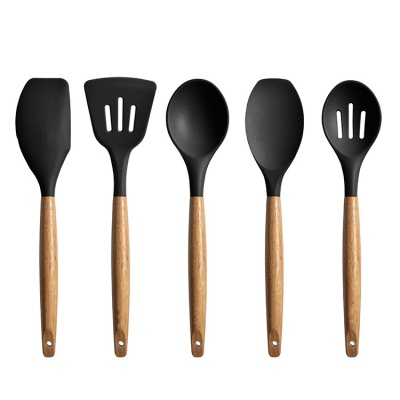 hot sale 9 pieces food standard kitchen wooden and bamboo utensil set