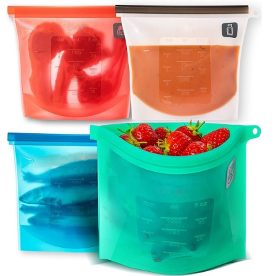 Food Grade Reusable Silicone Food Storage bag , silicone food preservation bag