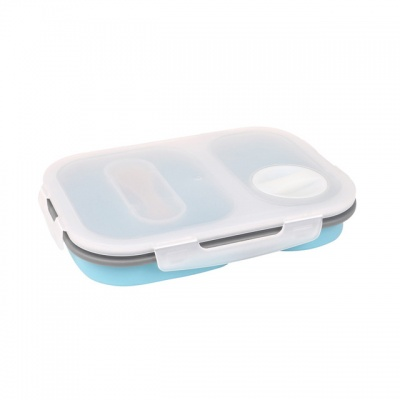 BPA free 2 spaces Collapsible Silicone Food Storage Container Lunch Box with Fork Spoon
