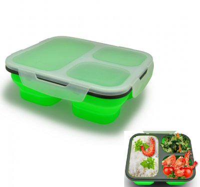 New develop amazon hot selling collapsible silicone folding lunch box