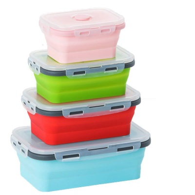 Hot selling 4 compartment leak proof lunch box with lid and reusable spork