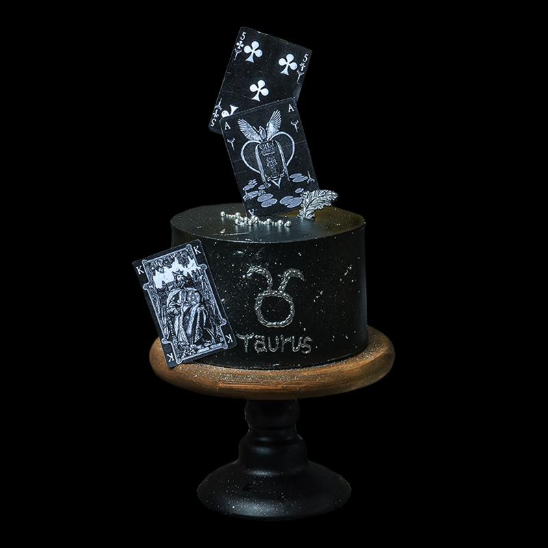 网红创意金牛星座塔罗卡牌手绘男生朋友奶油水果生日蛋糕同城配送