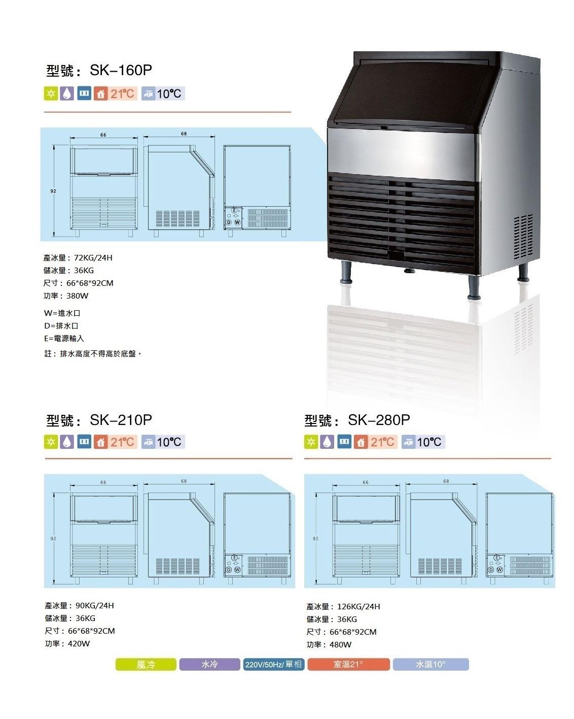 【SK-280P】角冰製冰機-商用全自動快速製冰(方冰)