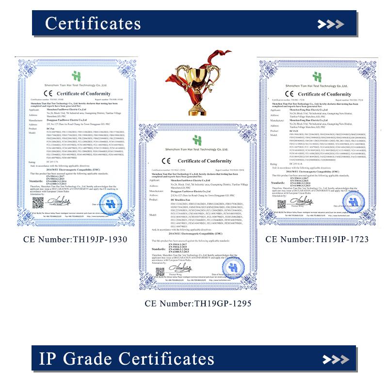 小型工业直流无刷轴流风机通过CE认证,符合多个国家及行业标准,如REACH,ROHS, UL,TUV等
