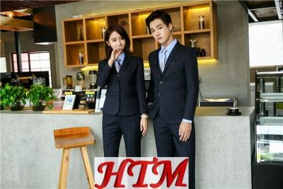 HTM-08男女西装 高档 条纹西装黑