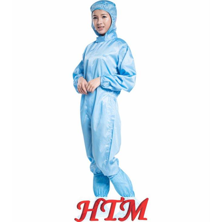 涤纶面料防尘工业工作服防静电连帽连体服防护服HTM-CS SC-1003