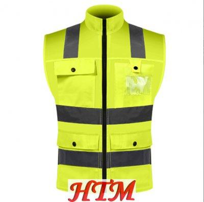 斜紋布多口袋反光馬甲施工道路安全工作服反光馬甲HTM-CS 135-SVM1036