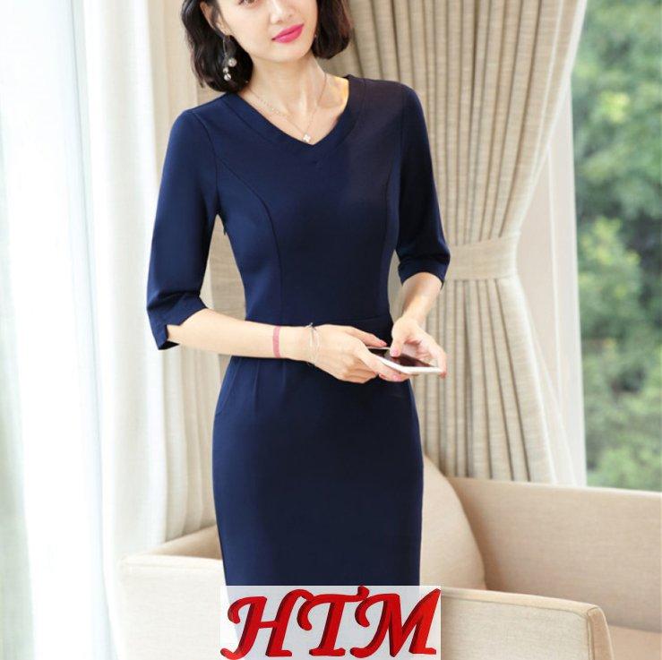 白领收腰商务通勤女士职业装连衣裙HTM-AMZ-532
