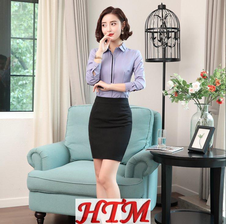 修身商务通勤职业套装裙衬衫加短裙BGF-1031