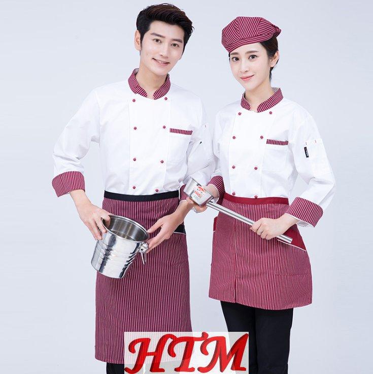 条纹厨师长后厨中餐厅工作服涤棉上衣黑红条领 HTM-CS HY-C0202017
