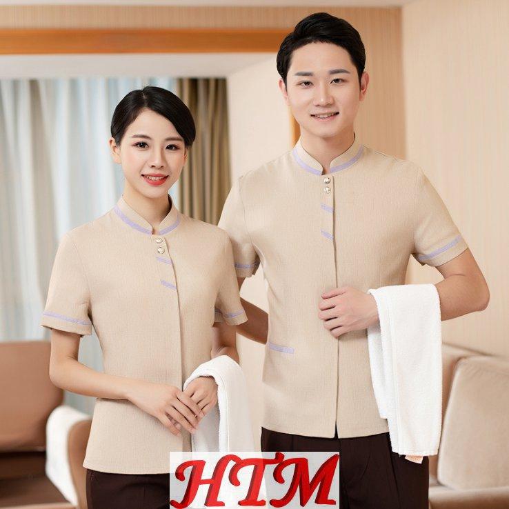 酒店客房宾馆家政保洁服上衣亚麻双杠HTM-CS 45-C0203002