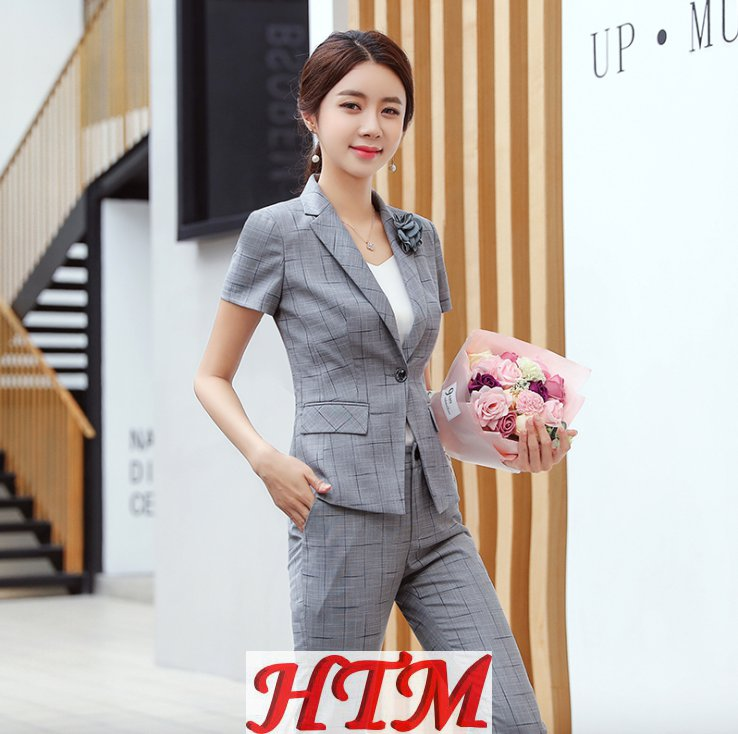 职业装女套装时尚夏季新款短袖套装(外套长裤)HTM-S121 114-1308