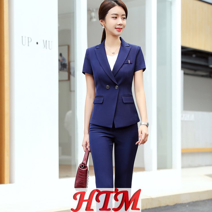 新款夏季气质时尚职业装休闲商务短袖工作服 HTM-S86 114-1313