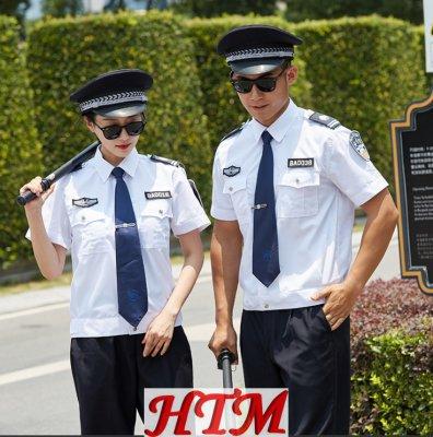 短袖保安服衬衫高质棉白色短袖HTM39-C0110020