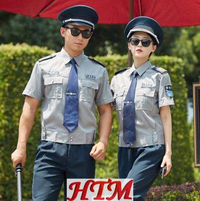 短袖保安服衬衫斜纹浅灰短袖衬衫 HTM28-C0110024
