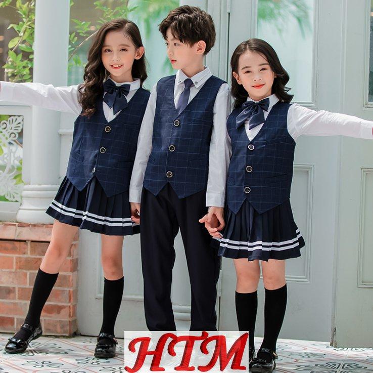英伦风色织格子布中小学生校服四件套校服套装HTM-S94 LKL-9170