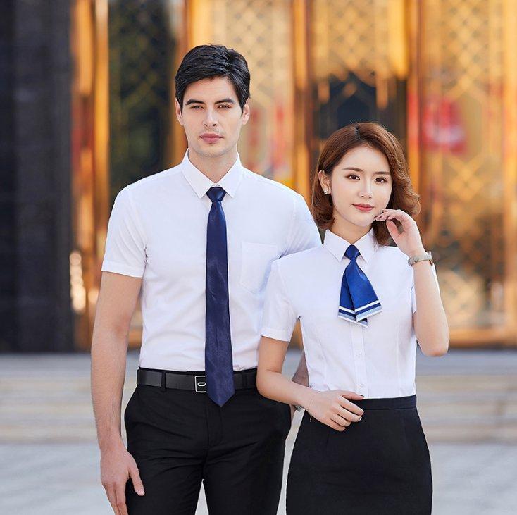修身通勤细斜纹短袖衬衫男女同款C-QZ-8807
