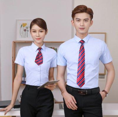 职场西装斜纹短袖男女同款衬衫上衣 C-111-201短袖斜纹