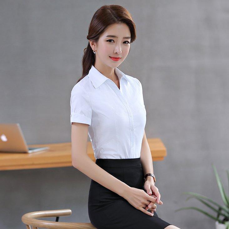 V领面试商务白衬衫女短袖衬衫女职业装正装商务衬衫C-126-6603